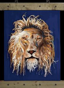 Fiber Art Leeuw Cecil Wilma Poot Artsation